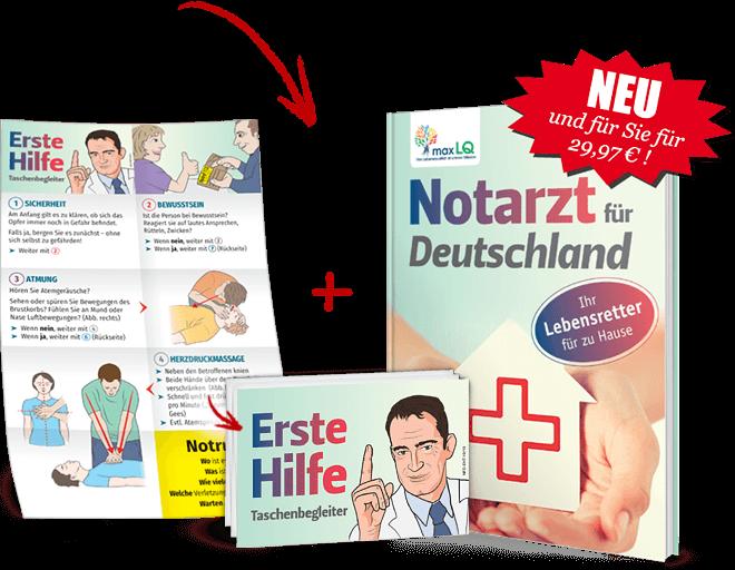 """""""Erste-Hilfe Taschenbegleiter"""" + Neu und für Sie für 29,97 €! Buch """"Notarzt für Deutschland"""":"""